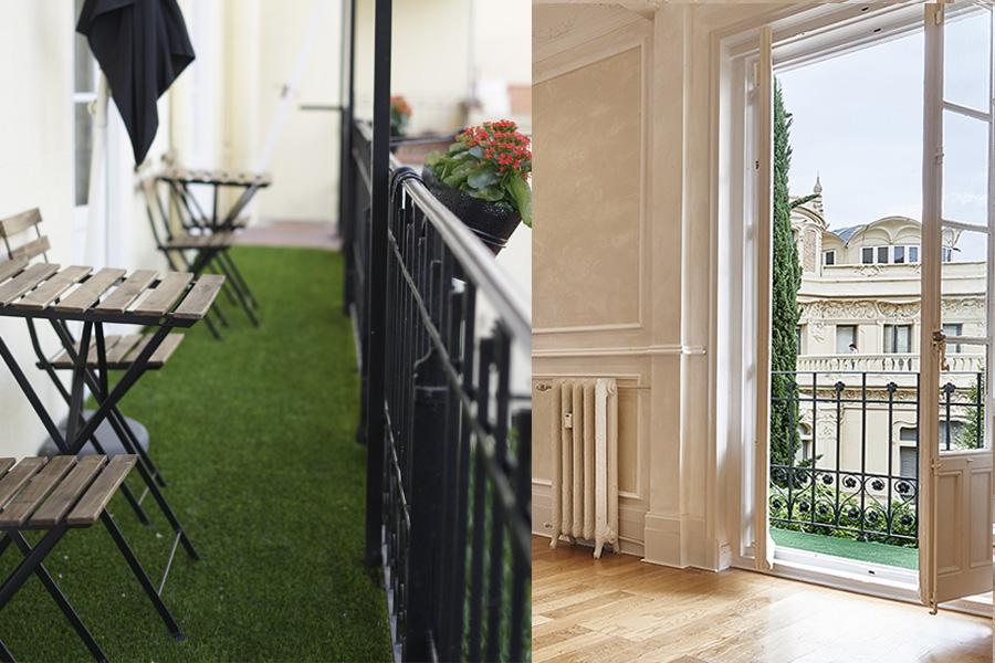 Terraza con una de las mejores vistas de Madrid, los jardines del Palacio de Longoria